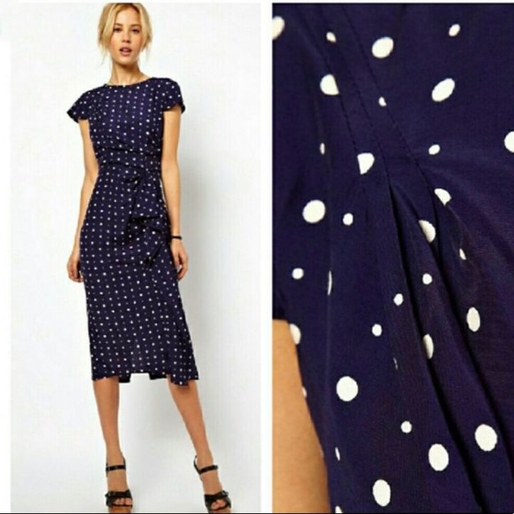 41a39229af5295 ASOS Dresses & Skirts - ASOS vintage style navy polka dot midi dress ...